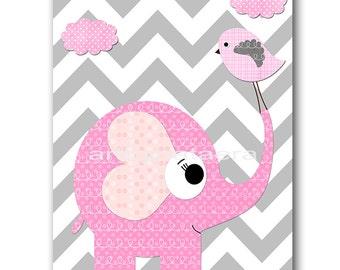 Elephant Digital Art Print Digital Nursery Art Nursery Digital Print Printable Nursery Art Instant Download Baby Girl Nursery Art 8x10 11X14