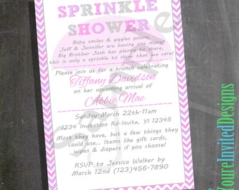Custom Printable Baby Shower Invitation, Sprinkle Shower, Second Baby Shower