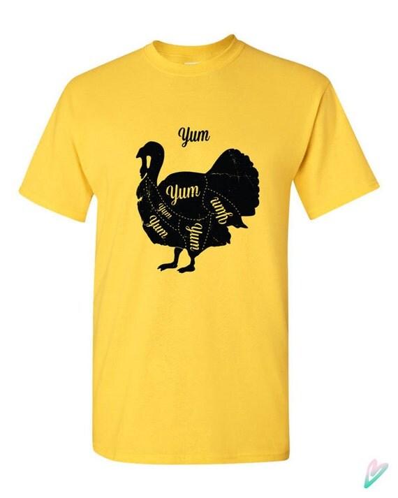 Yum funny turkey cuts t shirt tshirt tee shirt thanksgiving for Shirts made in turkey