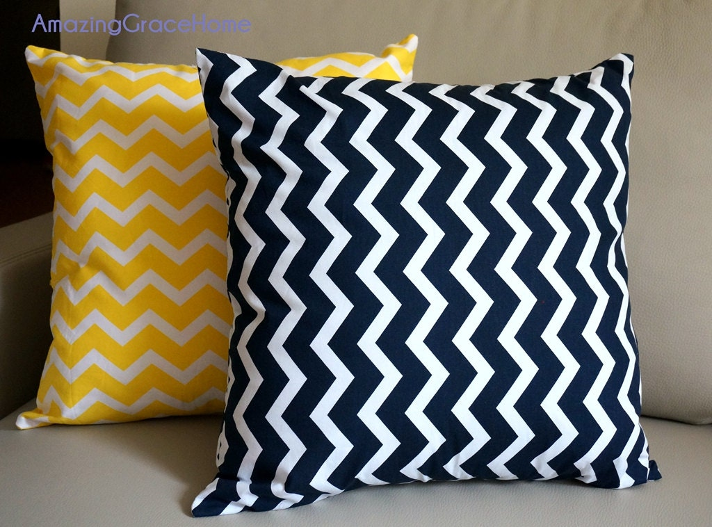 Dark Blue Throw Pillow : NAVY Chevron throw Pillow covers dark blue by AmazingGraceHome