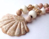 Jasper Shell Necklace Hand Carved Pendant Sea Shell Jewelry Melon Bead Necklace Earthy Jewelry Natural Stone Jewelry Beach Hand Knotted