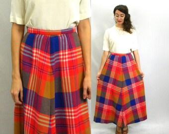 70s Blue Orange Red Plaid Maxi Skirt    Long High Waist Skirt   Small
