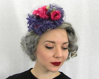 40s Fascinator | Flower Hat | Purple Pink Tilt Hat