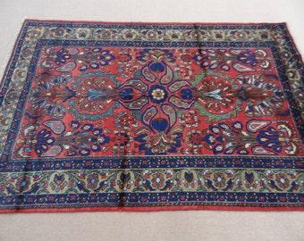 Size:7 ft by 4.8 ft Handmade Rug Vintage Fine Sarouk Carpet Hanmade Oriental Heriz Rug