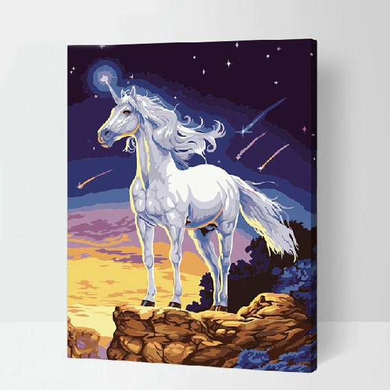 Diy Painting Kit Unicorn Painting Paint By Numbers Kit Diy Oil
