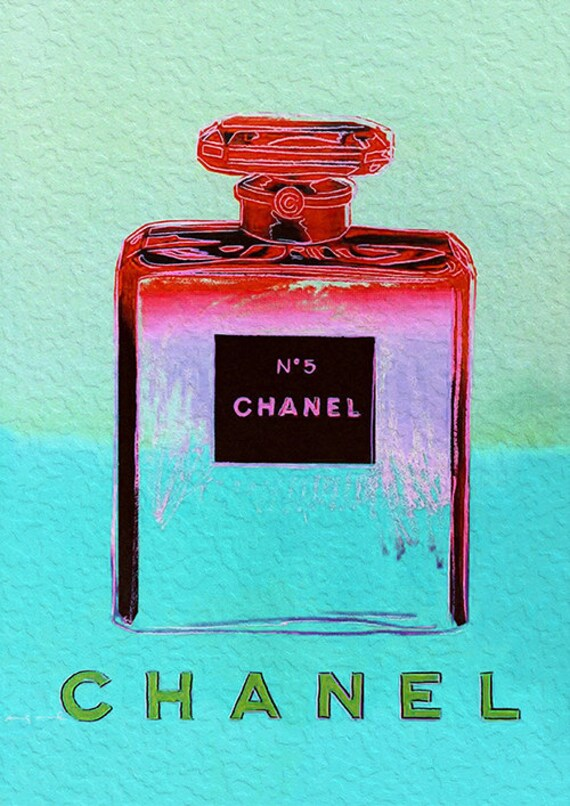 chanel no 5 no5 no 5 andy warhol aqua print poster pop art. Black Bedroom Furniture Sets. Home Design Ideas