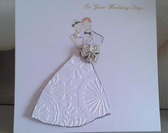 Handmade Bride and Groom Hand Drawn Wedding Congratulations Card