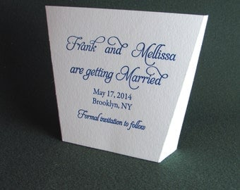 20 Letterpress Save the Date,  Wedding Invitation,  Free standing Design
