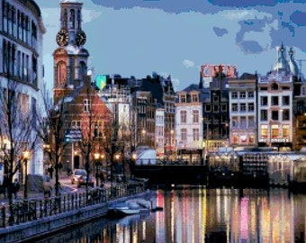 Large Size Amsterdam by Night Cross Stitch Chart