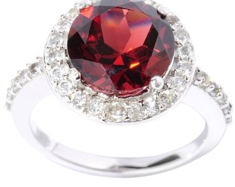 SALE-10% DISCOUNT!!! Use Coupon Code ( OFF10SALE)Sterling Silver 5.35cttw Garnet and White Topaz Halo Ring