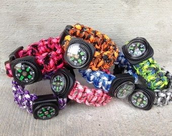 SALE - Boys and Girls Survival Paracord Bracelet - Camo with Compass