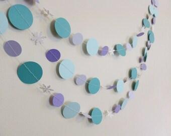 Frozen Paper Garland | Purple Turquoise Frozen Birthday Decor