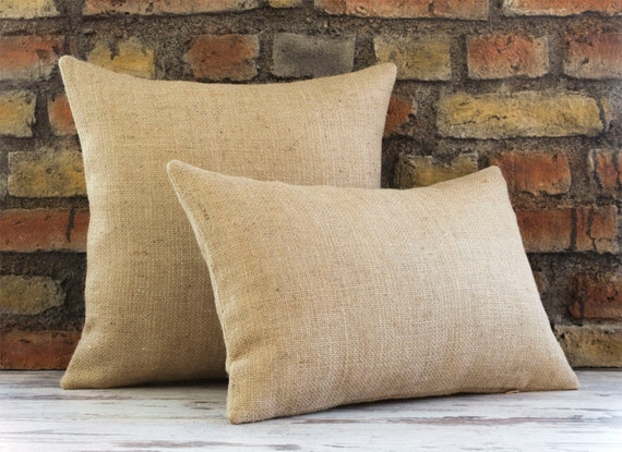 Burlap Pillow Cover Plain Burlap Pillow Organic by pillowmeRustic