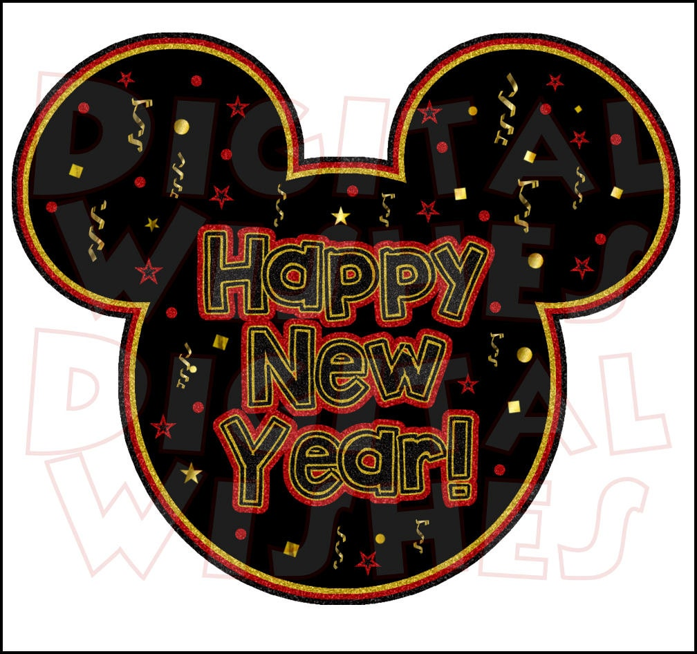 Happy New Year Mickey Mouse Digital Iron on transfer clip art