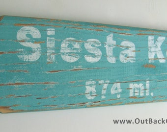Pallet Wood Arrow Sign: Mileage Sign / Reclaimed Wood Sign / Beach Décor / Custom location and miles included - let us know your choice!