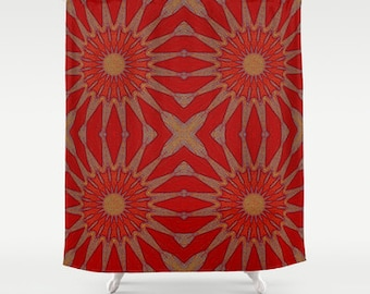 shower curtain pinwheel flowers red autumn shower curtain red shower curtain bathroom decor