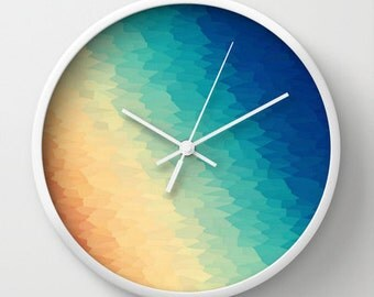 Clock, Warm to Cool Texture Clock, Wall Clock, Cool Tones Clock, Coloful Clock, Home Decor, Kitchen Clock, Beige Blue Clock, Blue Clock
