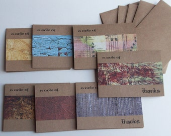 SALE 30% OFF - A Note of Thanks Greeting Card Set, Rustic Collection, Stationary Set, Blank Cards, Set of 7