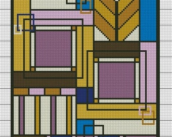 Frank Lloyd Wright inspired Cross Stitch pattern with easy Digital Download