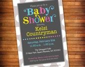 Grey Polka Dot Baby Shower Invitation, Gender Neutral Baby Shower Invitation, Gender Reveal Invitation, Polka Dots, Simple Baby Shower Theme