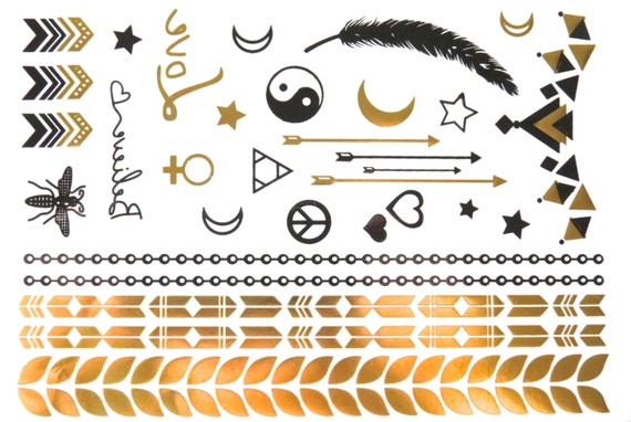 SALE - Metallic Temporary Tattoo - Gold Tattoo - Tattoo Jewelry