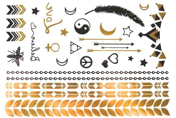 SALE - Metallic Temporary Tattoo - Gold Tattoo - Tattoo Jewelry