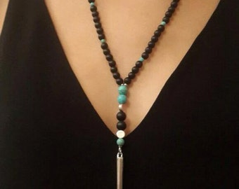 Mala necklace - Beaded necklace - Necklaces -Jewelry - Handmade Necklace - Turquoise necklace - Onyx necklace - natural gems