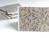 Blank note cards, set of 8, handmade Japanese paper, velvety leaves and branches, white blank cards, matching stationary box