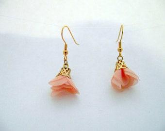 Briar Rose fabric floral earrings -SALE