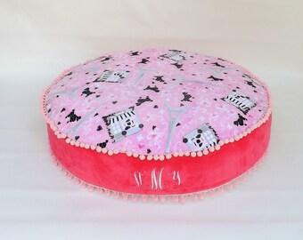 Eiffel Tower Pillow - Paris Pillow - Paris Floor Pillow - Minky Floor Pillow - Circle Floor Pillow - Girls Pillow - Girls Gifts - COVER ONLY