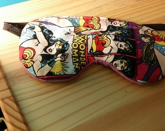 Hand Stiched One Size Fits Most Wonder Woman Eye Mask / Sleep Mask