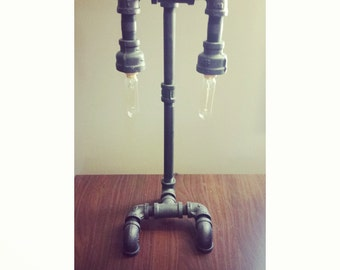 Industrial Pipe Lamp with Edison Bulbs Included