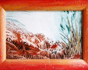 "Original encaustic painting ""Nature's beauty"", original artwork, 13 x 18 cm, nature painting, wall art, home decor, home interior picture"