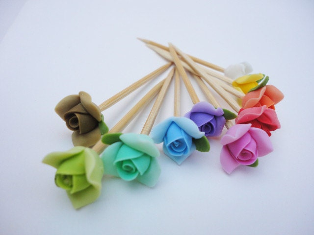Rose toothpick cake topper plant stake skewer party for Some canape picks