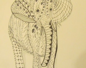 Elephant drawing black ink, single, ready for framing, frame not included