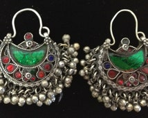 Afghanistan Earrings SIlver Hoop Handmade Handcrafted Blue Red Green Glass Kuchi Tribe Silver Gift for Her Bell Earrings Jewelry Birthday