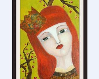 print princess mixed media painting naive whimsical