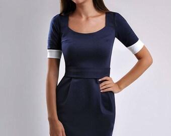 Little dark blue dress Day,Casual Jersey Dress ,3/4 Sleeve Dress, Office Wear,Mini Dress for Woman.
