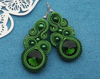 Rivoli Green Soutache Earrings