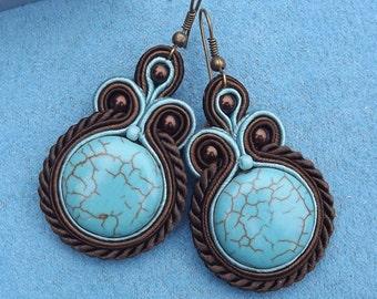 Turquoise in bronze Soutache  earringd