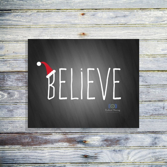 Believe Chalkboard Sign Christmas Home Decor By Fatandsassyink
