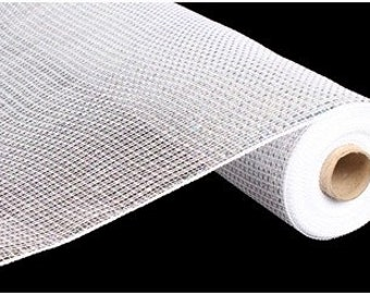 21 inch White Silver Wide Foil Mesh RE104141, White Silver Wide Foil Deco Mesh, White Deluxe Poly Deco Mesh Roll RE104141