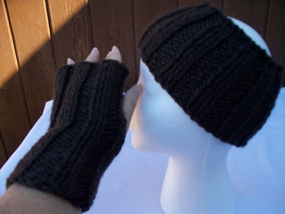 Items similar to Knit Brown Head Band / Ear Warmer and Fingerless Gloves Set,...