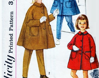 Simplicity 6609 - 1960's Sewing Pattern -  Child's Size 6  Coat Tappered Pants and Hat