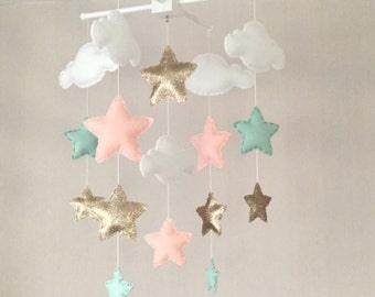 Baby mobile - Baby girl mobile - Cot mobile - Star mobile - Cloud Mobile - Nursery Decor - Clouds and stars - Gold, mint green and coral