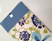 "Denim  Macbook  air 13"" padded sleeve / Denim Macbook air 13"" with retina case ./   Made in Maine / blue abstract flowers"
