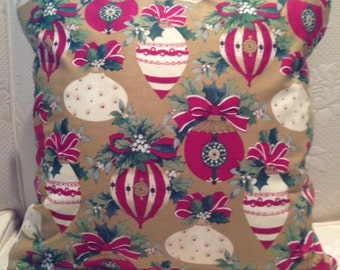 Cranberry Cream and Gold Holiday Ornaments Pillow Cover