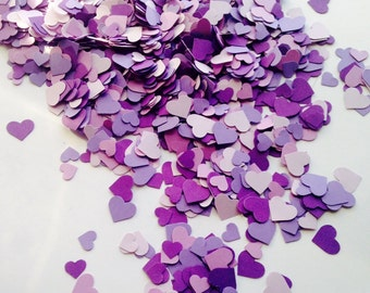 2,000 Purple Mini Heart Confetti - Purple Wedding Decor - Party Decor, Baby/ Bridal Shower, All Occasion Purple Confetti
