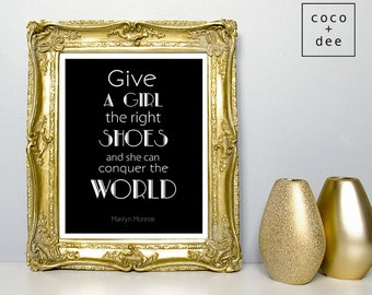 Typographic Print, fashion typography, shoes, Marilyn Monroe, conquer the world, fashion shoes quote, minimalist art, fashionable wall art