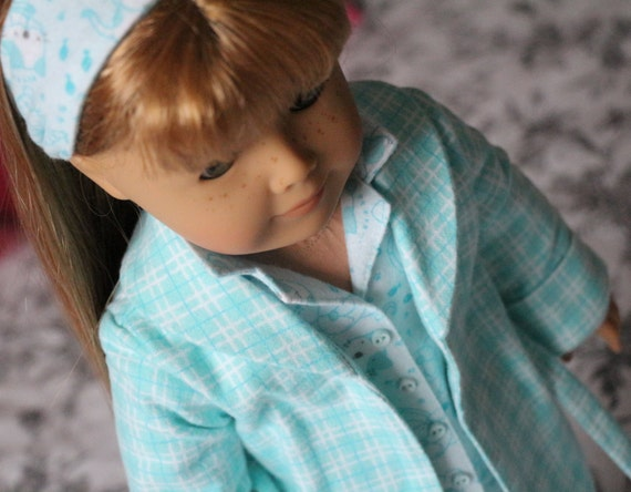 """American Girl Doll Clothes,  """" Mint Meow"""". Pajamas , Robe, Hair Band and Slippers."""